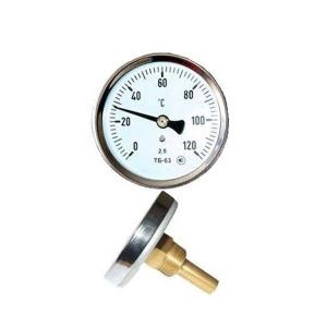 Термометр осевой биметаллический, от 0° С до +120° С, цена деления - 1,0° С.