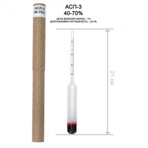 Ареометр спиртовой АСП-3, (измерение от 40% до 70%)