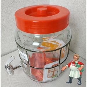 Банка с гидрозатвором и краном стеклянная, 5 литров