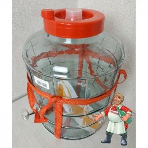 Банка с гидрозатвором и краном стеклянная, 25 литров